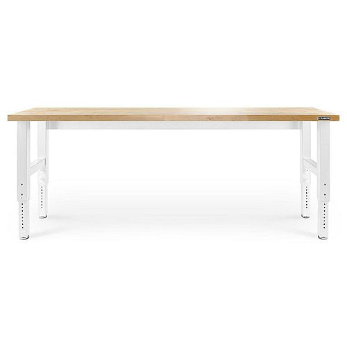 Gladiator 8 ft. Adjustable Height Workbench with Hardwood Top in White