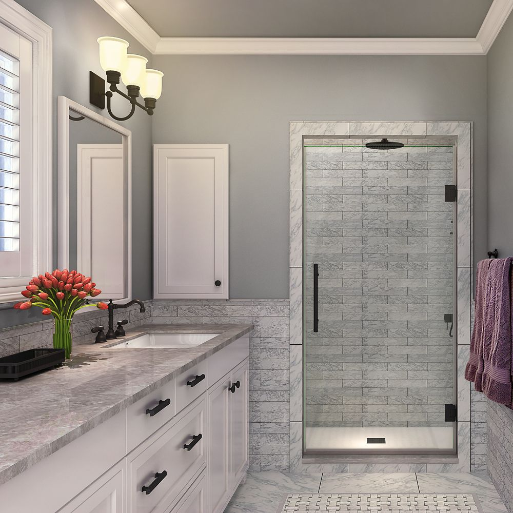 Aston Kinkade 33.75 inch to 34.25 inch x 72 inch Frameless Hinged Shower Door in Matte Black