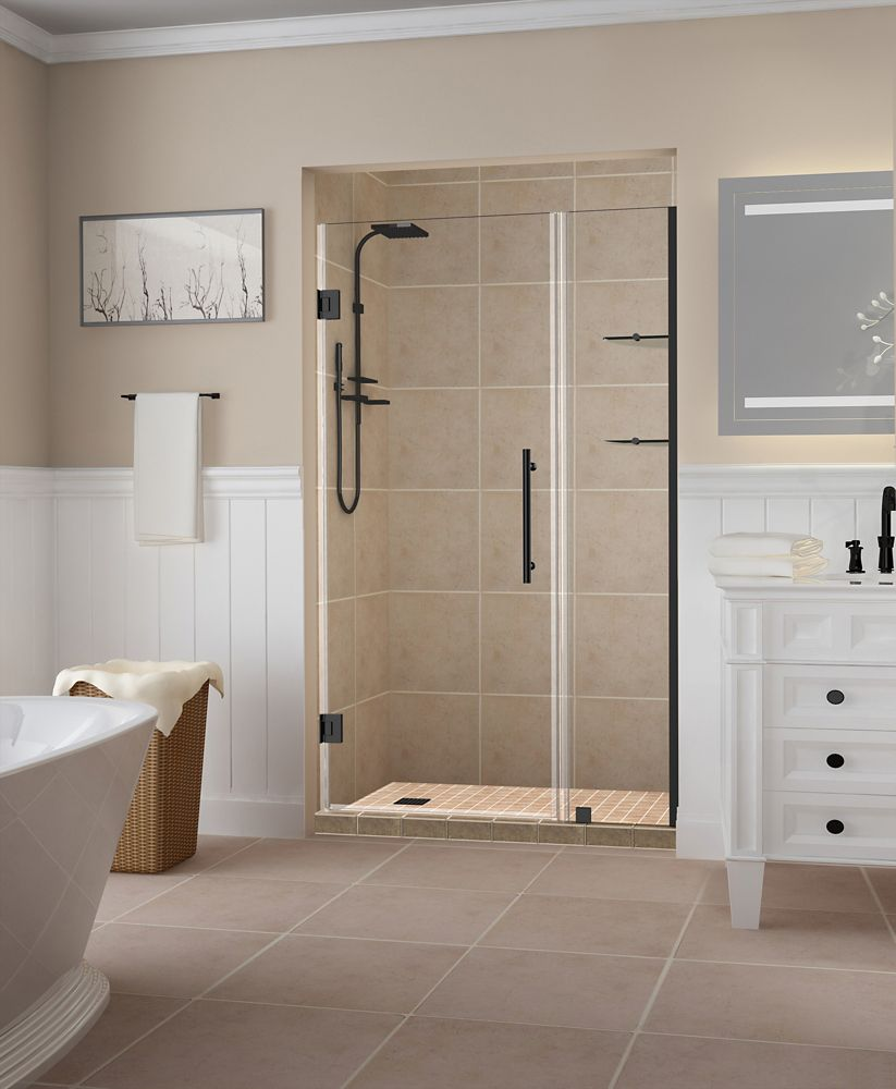 Aston Belmore GS 36.25 inch to 37.25 inch x 72 inch Frameless Hinged Shower Door w. Shelves, Matte Black