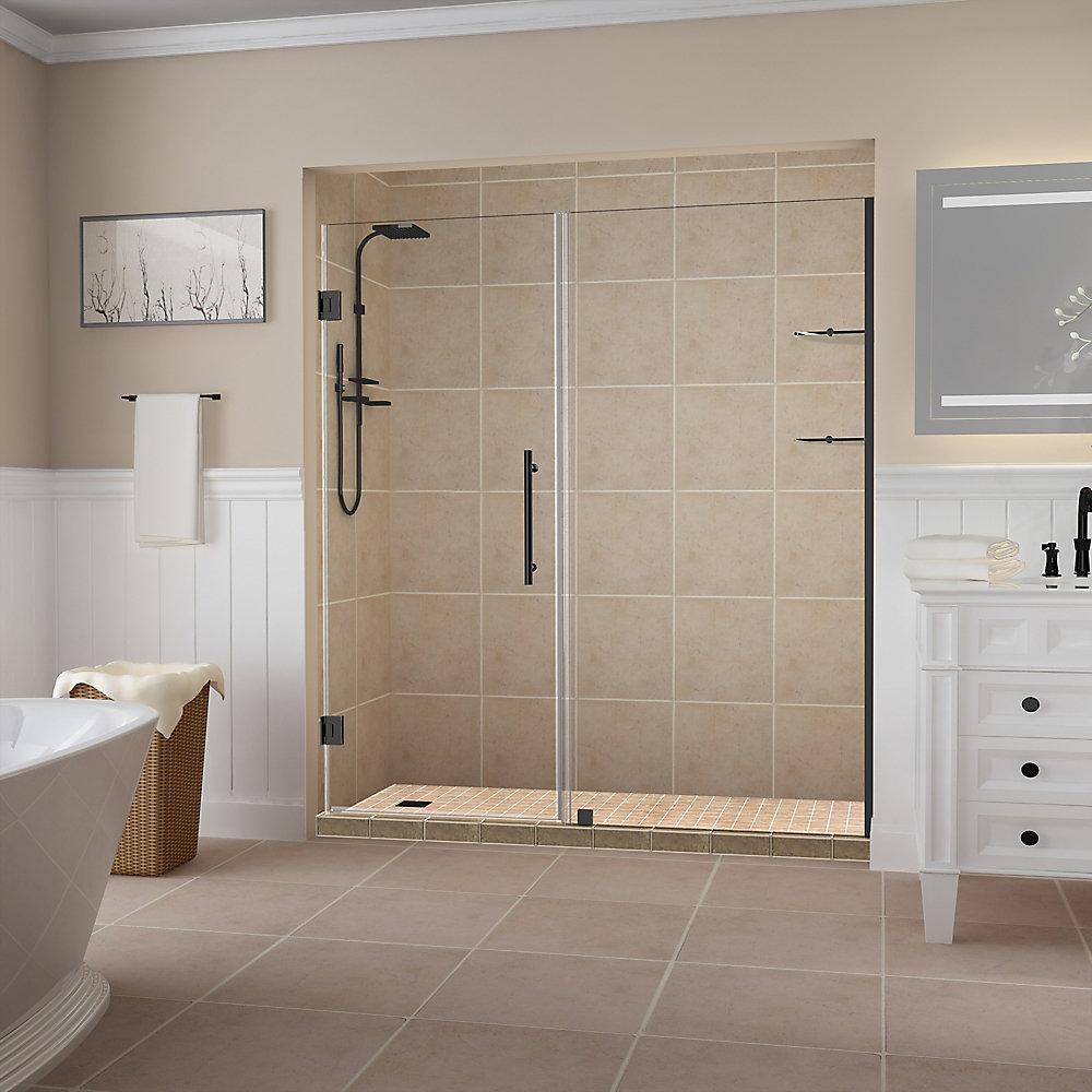 Belmore GS 66.25 inch to 67.25 inch x 72 inch Frameless Hinged Shower Door w. Shelves, Matte Black
