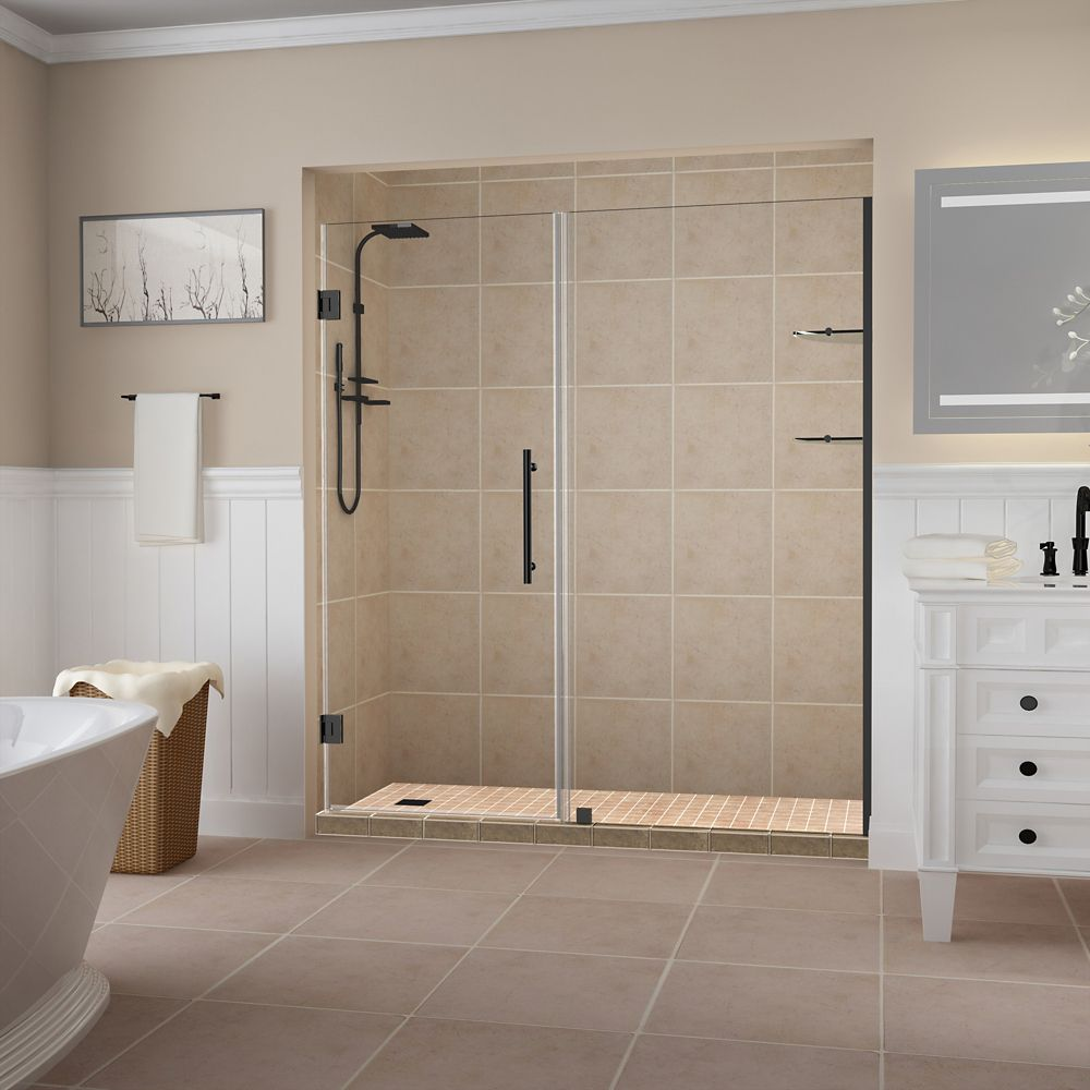 Aston Belmore GS 66.25 inch to 67.25 inch x 72 inch Frameless Hinged Shower Door w. Shelves, Matte Black