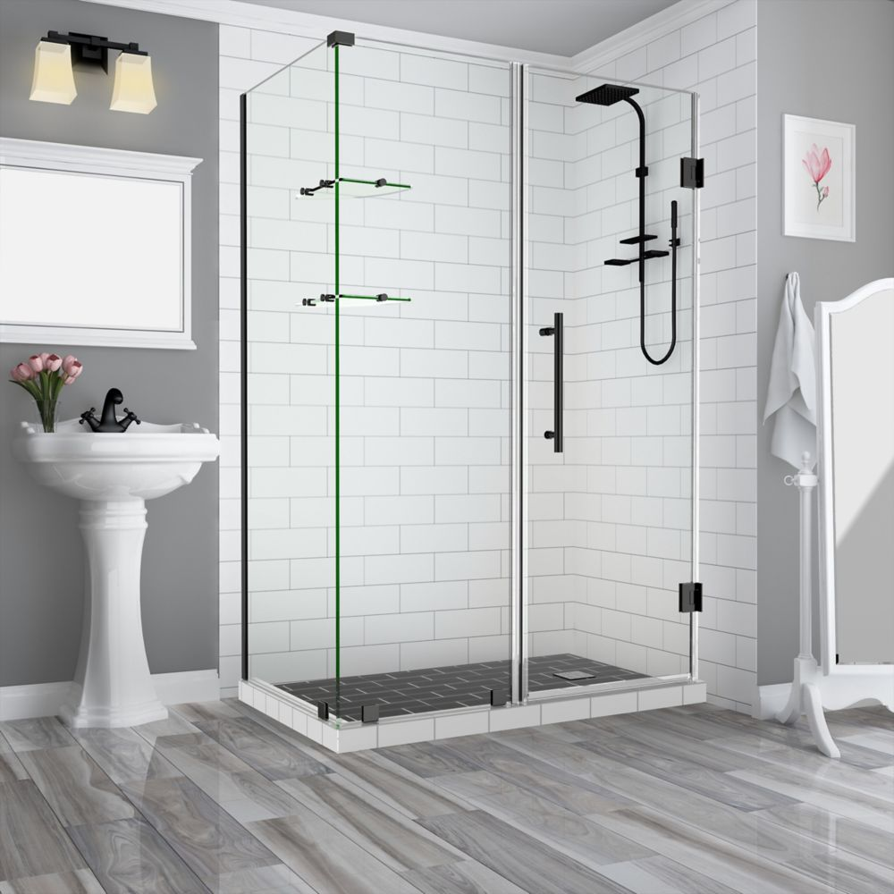 Aston BromleyGS 71.25-72.25 x 30.375 x 72 Frameless Corner Hinged Shower Enclosure w. Shelves, Matte Black