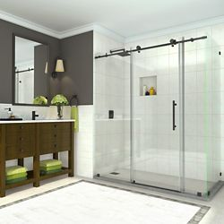 Aston Coraline 68 -72 inch x 33.875 inch x 76 inch Frameless Sliding Shower Enclosure, Matte Black