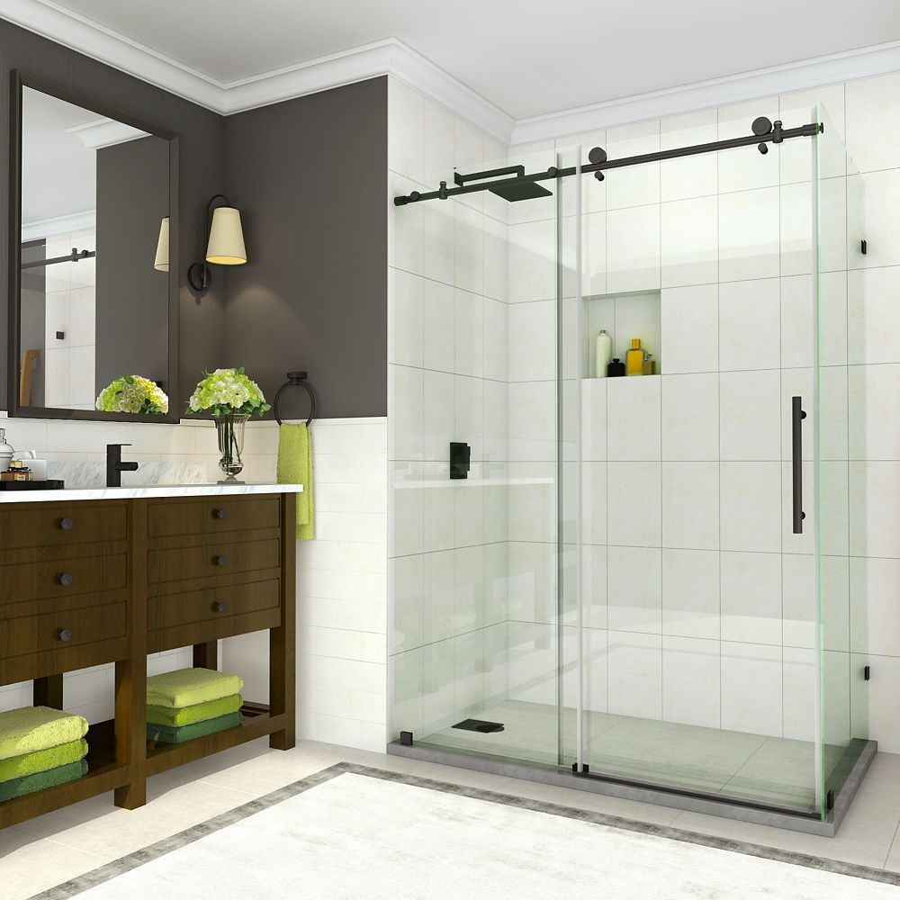 Aston Coraline 44 -48 inch x 33.875 inch x 76 inch Frameless Sliding Shower Enclosure, Matte Black