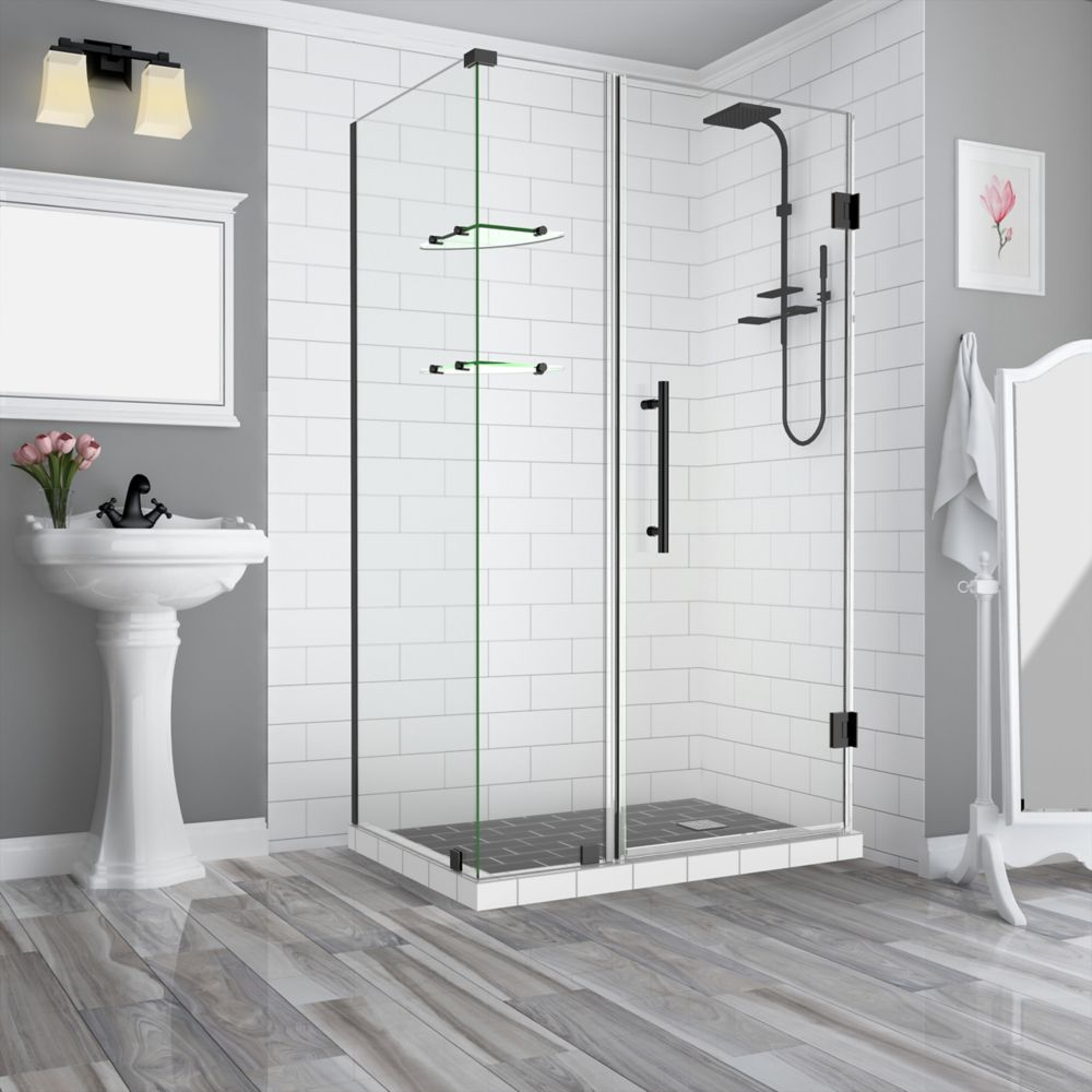 Aston BromleyGS 37.25-38.25 x 38.375 x 72 Frameless Corner Hinged Shower Enclosure w. Shelves, Matte Black