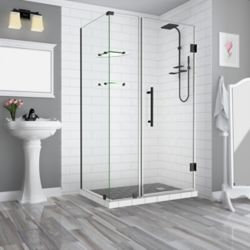 Aston BromleyGS 39.25-40.25 x 30.375 x 72 Frameless Corner Hinged Shower Enclosure w. Shelves, Matte Black
