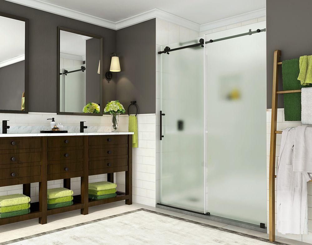 Aston Coraline 44- 48 inch x 76 inch Completely Frameless Sliding Shower Door w. Frosted Glass, Matte Black