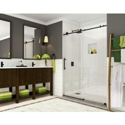 Aston Coraline 56 inch to 60 inch x 76 inch Completely Frameless Sliding Shower Door, Matte Black