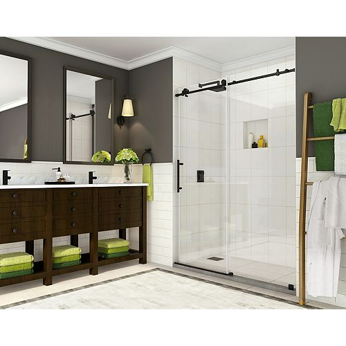 Aston Coraline 56-inch to 60-inch x 76-inch Completely Frameless Sliding Shower Door in Matte Black