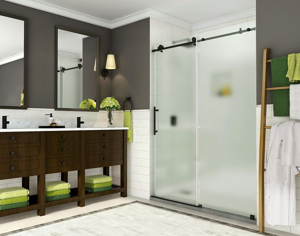 Aston Coraline 56 inch to 60 inch x 76 inch Frameless Sliding Shower Door w. Frosted Glass, Matte Black