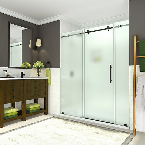 Aston Coraline 68 inch to 72 inch x 76 inch Frameless Sliding Shower Door w. Frosted Glass, Matte Black