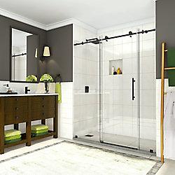 Aston Coraline 68 inch to 72 inch x 76 inch Completely Frameless Sliding Shower Door, Matte Black