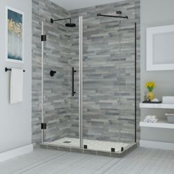 Aston Bromley 59.25 to 60.25 x 30.375 inch x 72 inch Frameless Corner Hinged Shower Enclosure, Matte Black