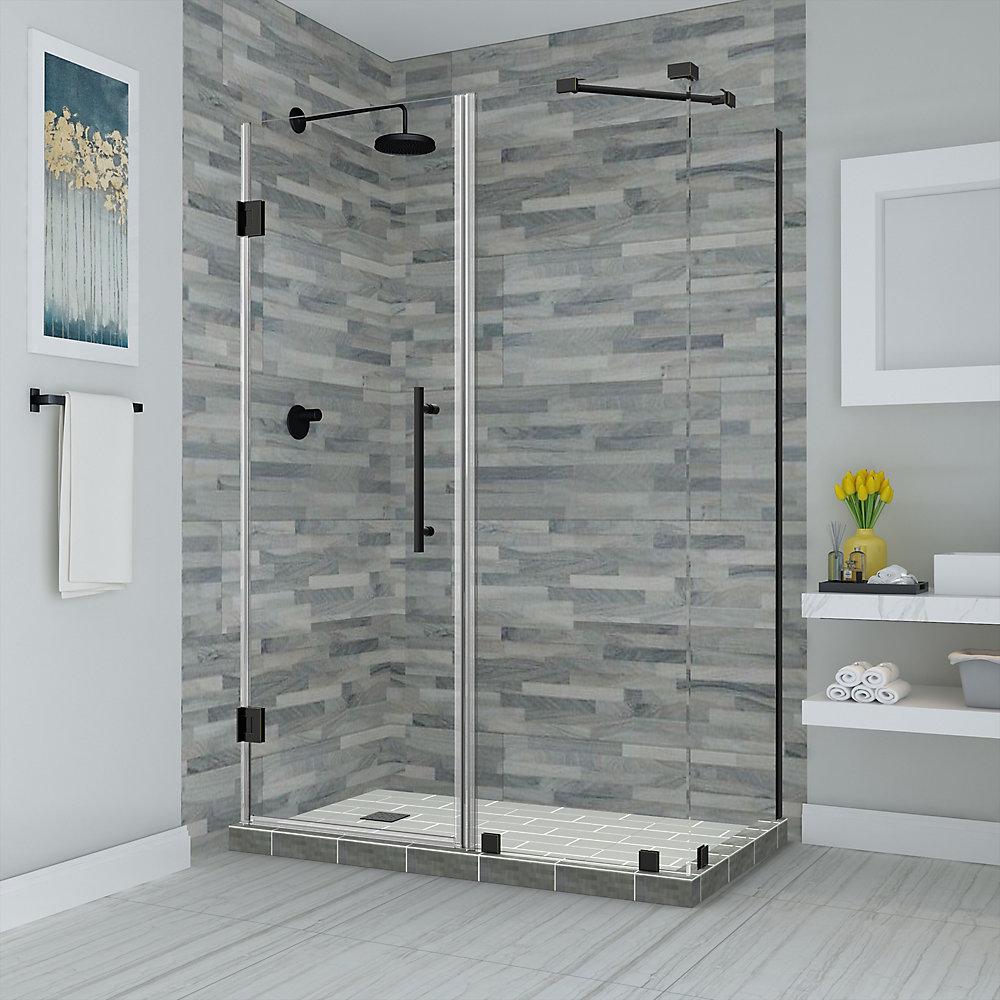 Bromley 50.25 to 51.25 x 36.375 inch x 72 inch Frameless Corner Hinged Shower Enclosure, Matte Black