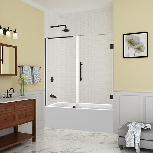 Aston Belmore 59.25 inch to 60.25 inch x 60 inch Frameless Hinged Tub Door, Matte Black