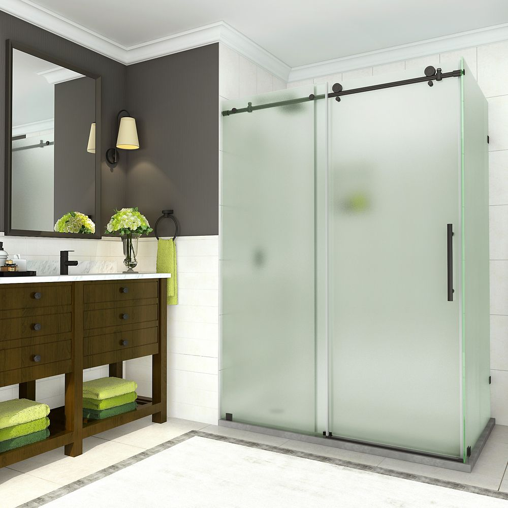 Aston Coraline 44 - 48 x 33.875 x 76 inch Frameless Sliding Shower Enclosure w. Frosted Glass, Matte Black