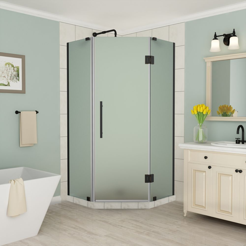 Aston Merrick 36 to 36.5 inch x 72 inch Frameless Neo-Angle Shower Enclosure w. Frosted Glass, Matte Black