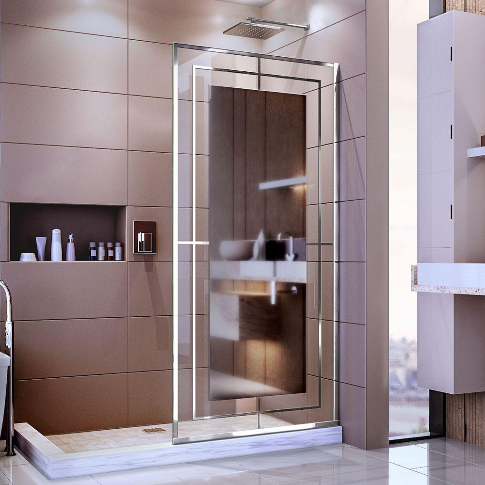 DreamLine Platinum Linea Mira 34 inch W Frameless Shower Screen in Polished Stainless Steel