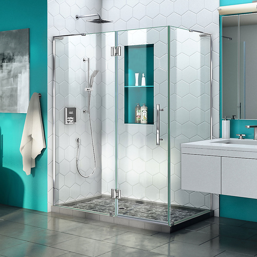 Quatra Plus 34 inch D x 46 inch W x 72 inch H Frameless Hinged Shower Enclosure in Chrome