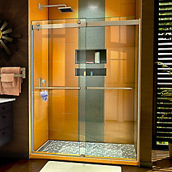 DreamLine Sapphire 56-60 inch W x 76 inch H Semi-Frameless Bypass Shower Door in Brushed Nickel