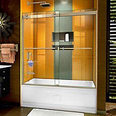 Sapphire 56-60 inch W x 60 inch H Semi-Frameless Bypass Tub Door in Brushed Nickel