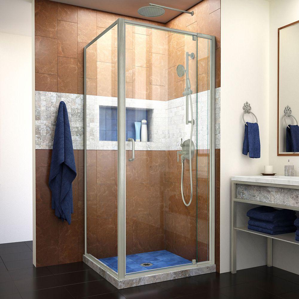 DreamLine Flex 30 1/2 inch D x 28-32 inch W Semi-Frameless Pivot Shower Enclosure in Brushed Nickel