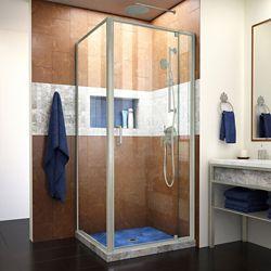 DreamLine Flex 34 1/2 inch D x 32-36 inch W Semi-Frameless Pivot Shower Door in Brushed Nickel