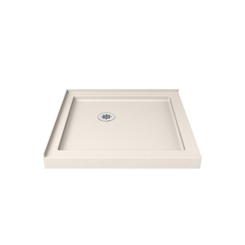 DreamLine SlimLine 42 inch D x 42 inch W x 2 3/4 inch H Double Threshold Shower Base in Biscuit