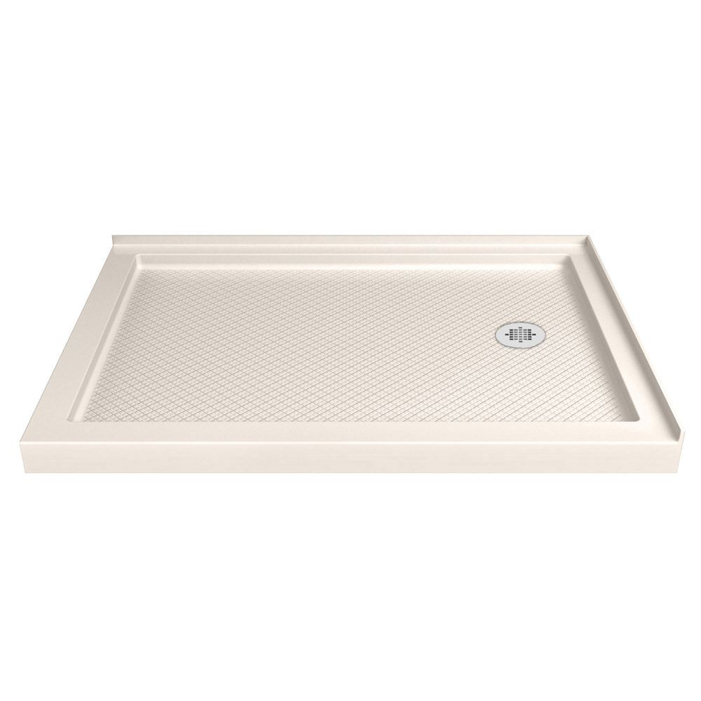 DreamLine SlimLine 36 inch D x 54 inch W Right Drain Double Threshold Shower Base in Biscuit