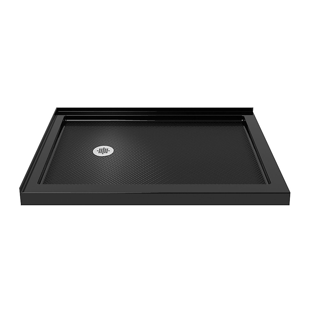 SlimLine 36 inch D x 54 inch W Left Drain Double Threshold Shower Base in Black