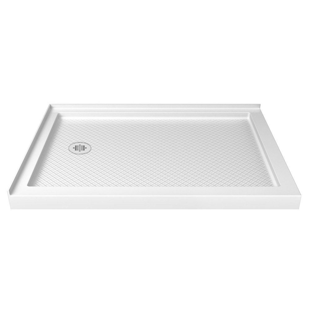 DreamLine SlimLine 36 inch D x 54 inch W Left Drain Double Threshold Shower Base in White