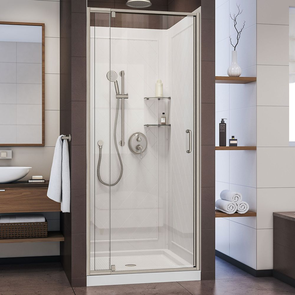 DreamLine Flex 36 inch D x 36 inch W Shower Door in Brushed Nickel with White Base and Backwalls
