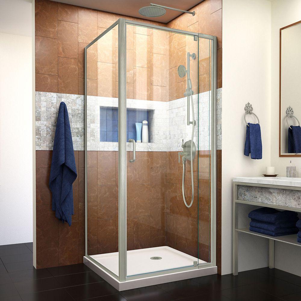 DreamLine Flex 32 inch D x 32 inch W x 74 3/4 inch H Pivot Shower Enclosure and Biscuit Base