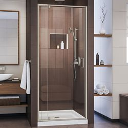 DreamLine Flex 36 inch D x 36 inch W Pivot Shower Door in Brushed Nickel and Center Drain White Base