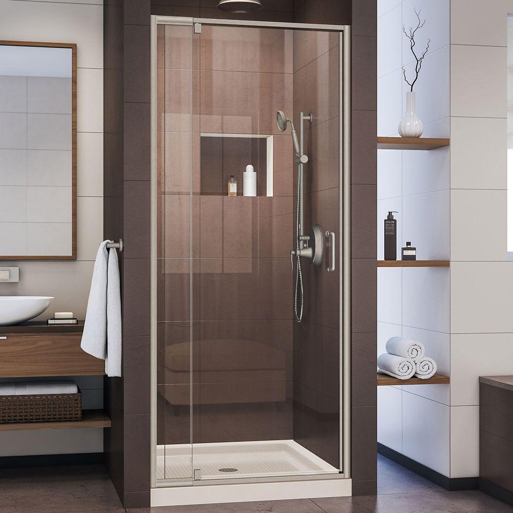 DreamLine Flex 36 inch D x 36 inch W Shower Door in Brushed Nickel and Center Drain Biscuit Base