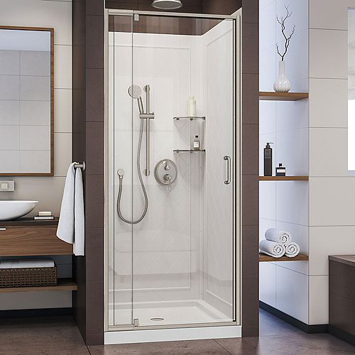 DreamLine Flex 32 inch D x 32 inch W Shower Door in Brushed Nickel with White Base and Backwalls