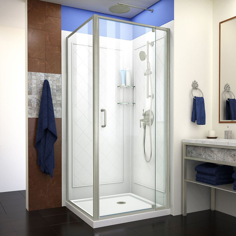 DreamLine Flex 32 inch D x 32 inch W Shower Enclosure in Brushed Nickel with White Base and Backwalls
