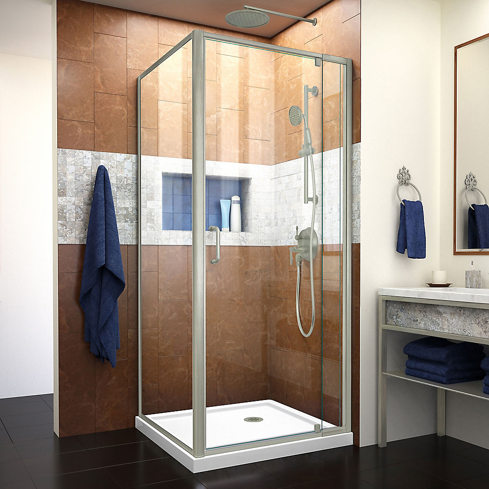 Flex 36 inch D x 36 inch W Pivot Shower Enclosure and White Base in Brushed Nickel