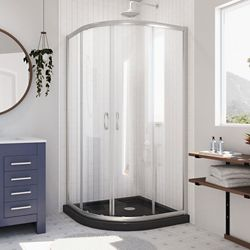 DreamLine Prime 38 inch x 74 3/4 inch Sliding Shower Enclosure in Brushed Nickel with Black Base Kit