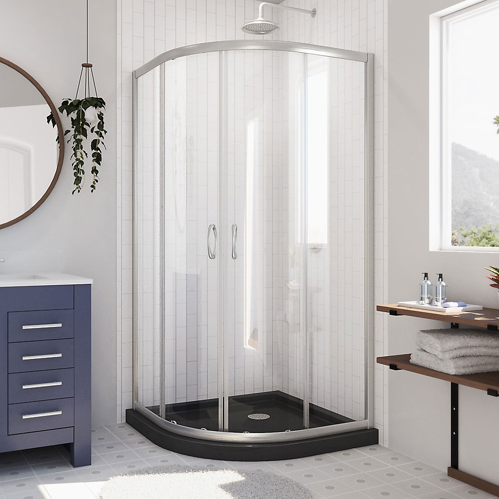 Prime 36 inch x 74 3/4 inch Sliding Shower Enclosure in Brushed Nickel with Black Base Kit
