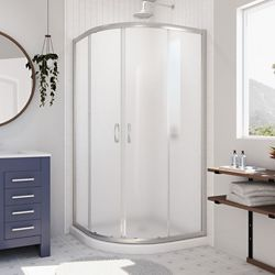 DreamLine Prime 33 inch x 74 3/4 inch Frosted Glass Shower Enclosure in Brushed Nickel with White Base
