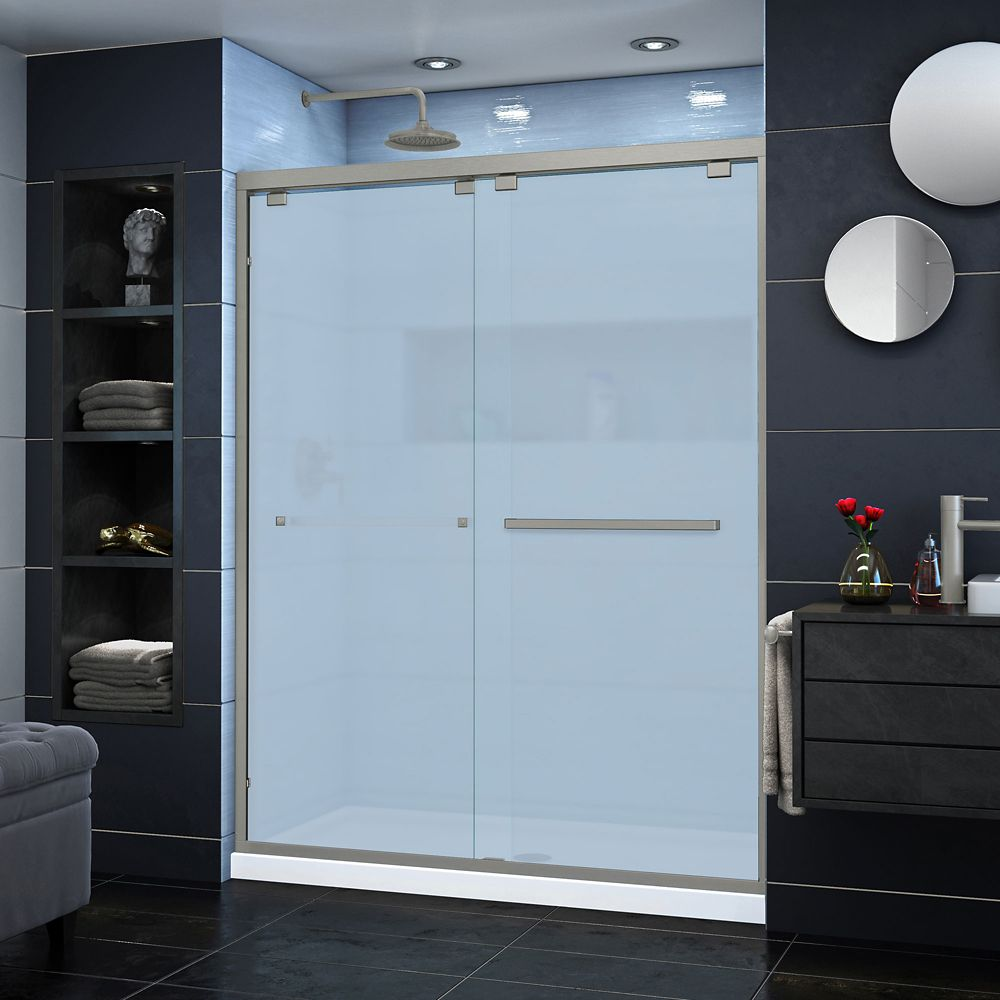DreamLine Encore 56-60 inch W x 76 inch H Semi-Frameless Bypass Sliding Shower Door in Brushed Nickel
