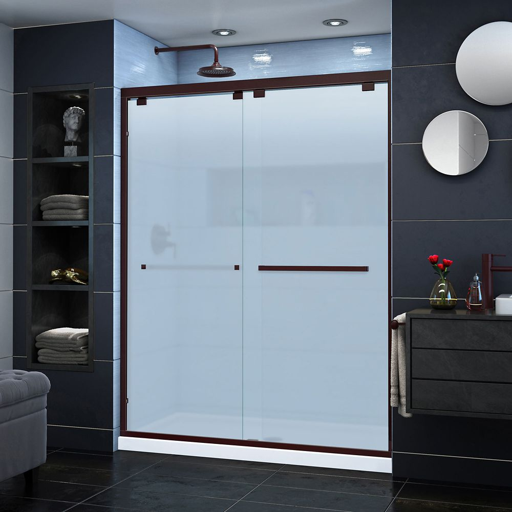 DreamLine Encore 56-60 inch W x 76 inch H Semi-Frameless Sliding Shower Door in Oil Rubbed Bronze