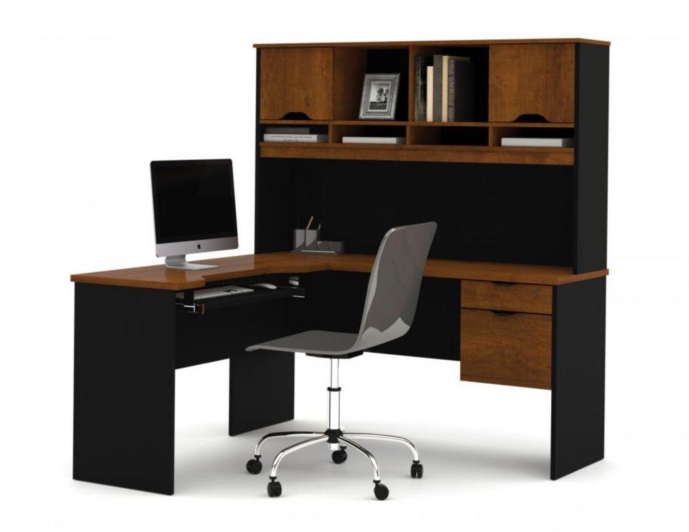 Bestar Innova L-shaped desk in Tuscany Brown & Black