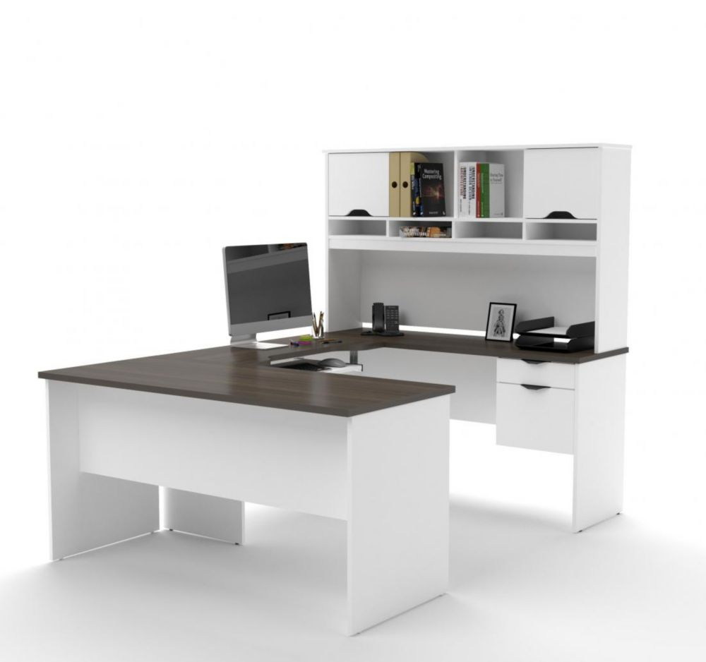 Bestar Innova U-shaped workstation in White and Antigua