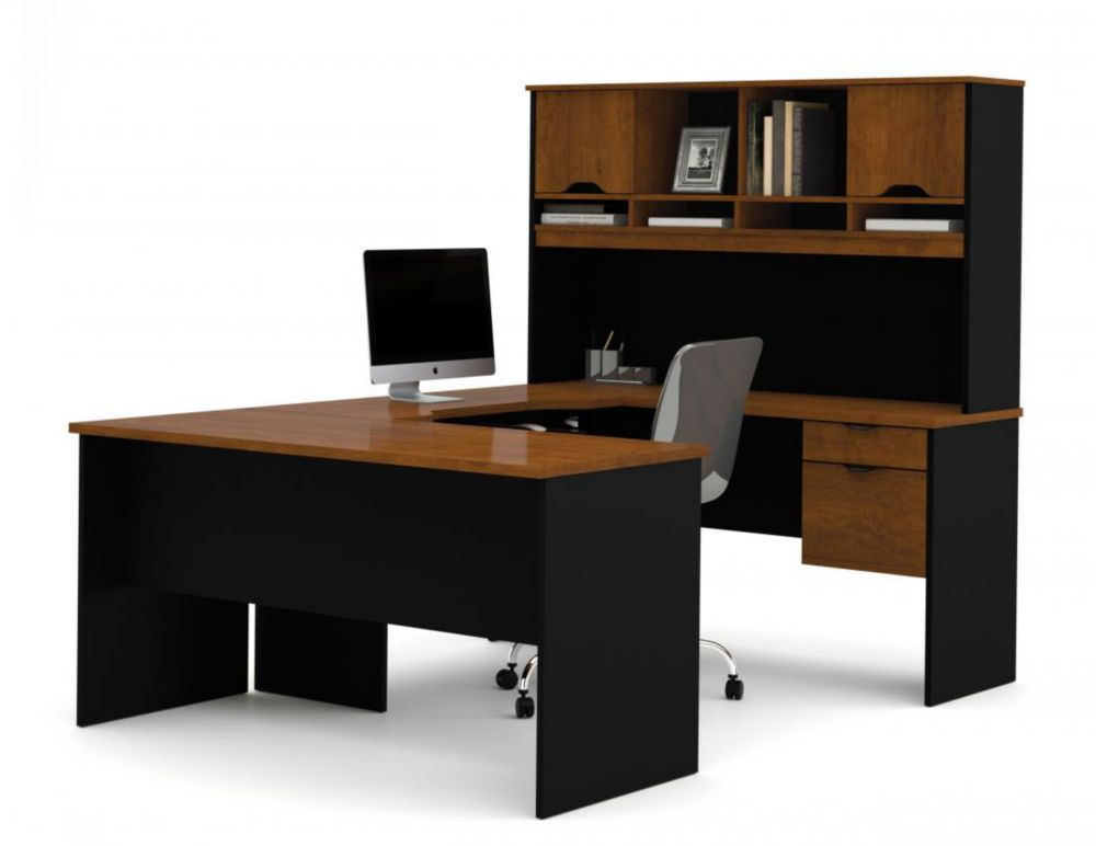 Bestar Innova U-shaped workstation in Tuscany Brown & Black