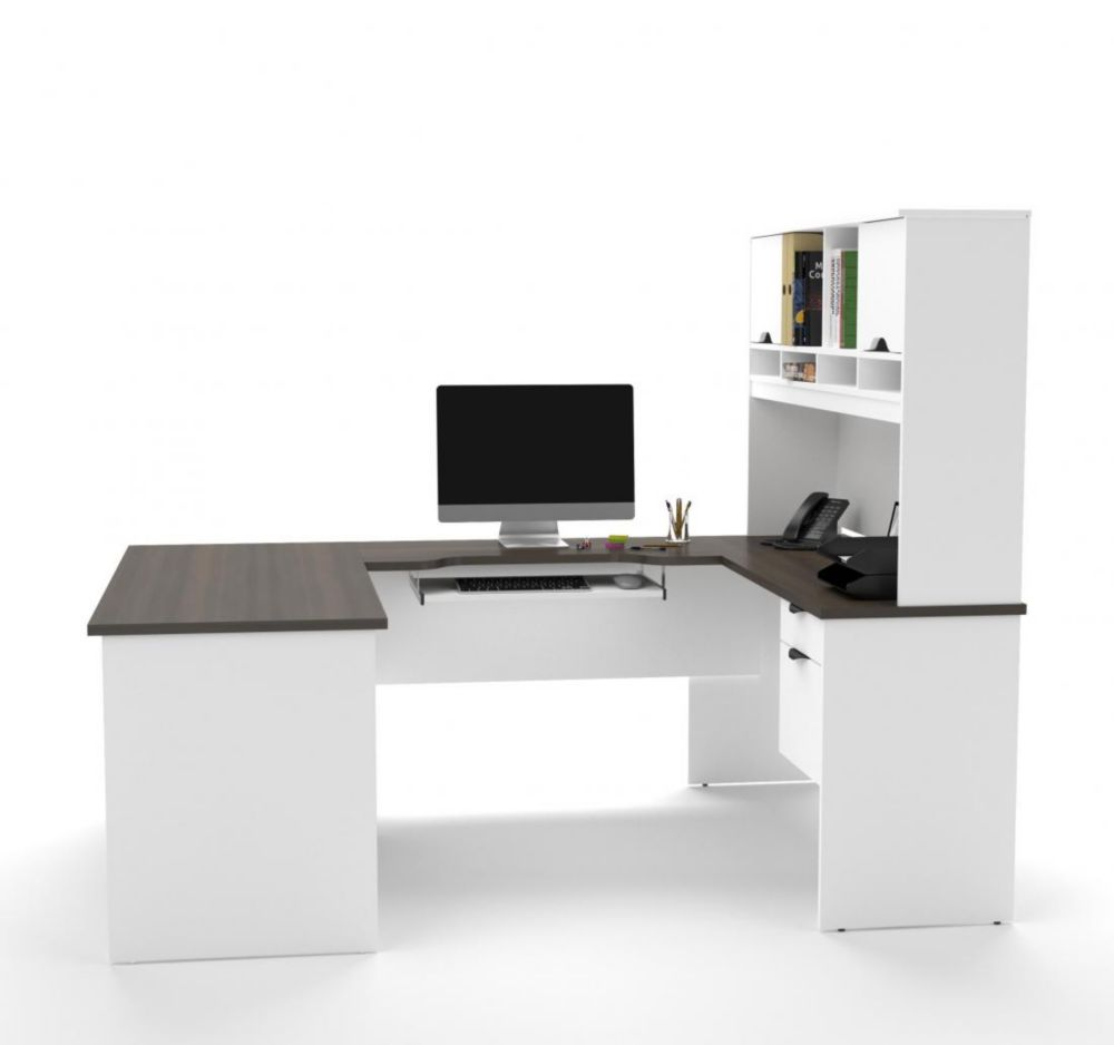 Bestar Innova U-shaped desk with accessories in White and Antigua