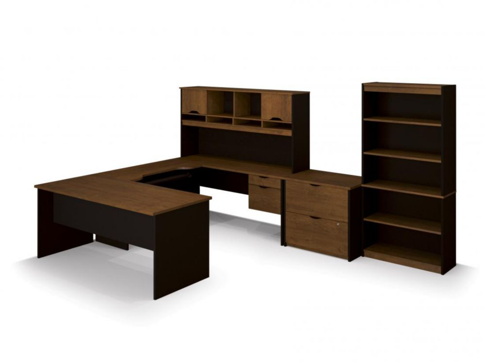 Bestar Innova U-shaped desk with accessories in Tuscany Brown & Black