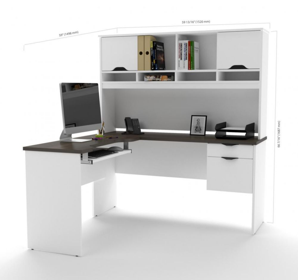 Bestar Innova L-shaped desk with accessories in White and Antigua