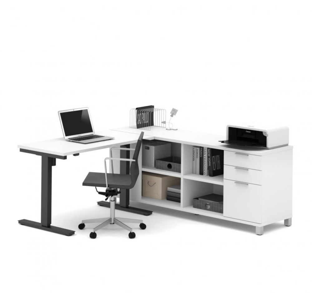 Bestar Pro-Linea Height Adjustable L-Desk in White